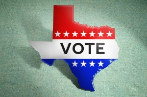 "outline of state of Texas with the word ""vote"""