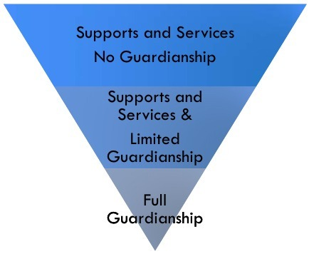 "An upsidedown pyramid with three levels. The top level is ""Supports and Services / No Guardianship,"" the middle level is ""Supports and Service & Limited Guardianship,"" the bottom is ""Full Guardianship""."