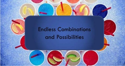 "An image of many beverages with different colored liquids inside. A blue box with the text ""Endless Combincation and Possibilities"" hovers above the image"