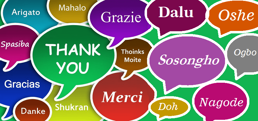 Thank you written in several languages