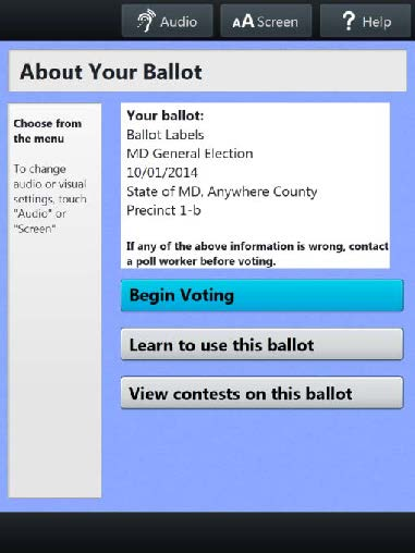 About Your Ballot Screen