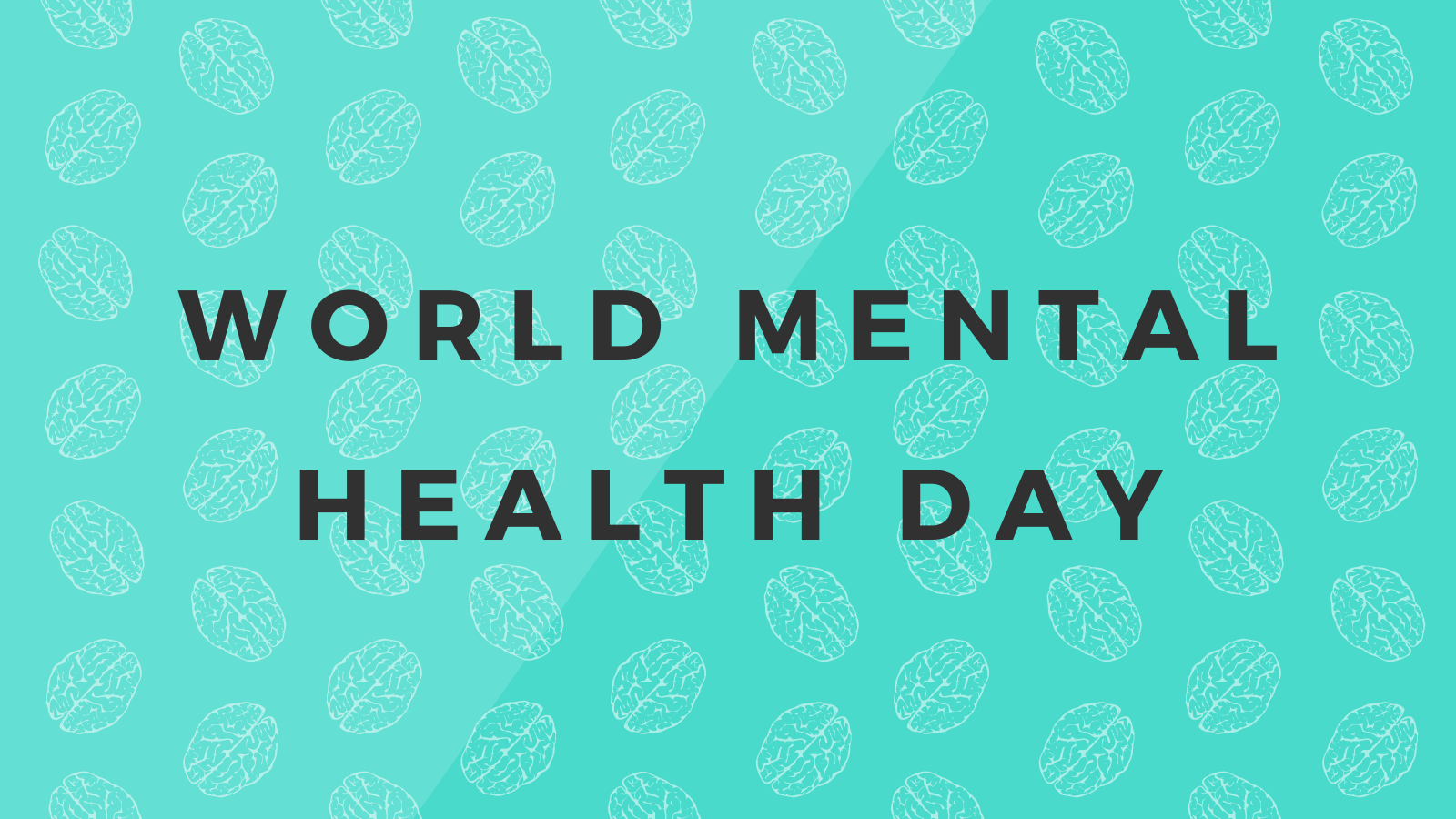 """a background pattern made from the images of a brain and the words """"World Mental Health Day""""."""